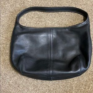 Old school black leather coach bag
